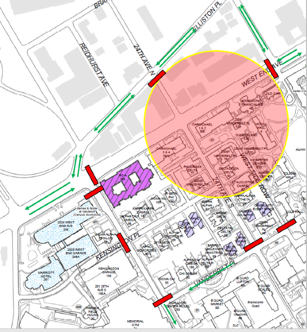 Map of designated traffic flow for Carmichael Towers East implosion on July 31, 2021.