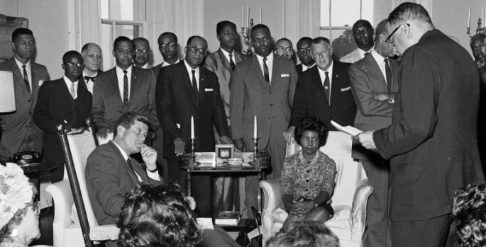 JFK meets NAACP members in the White House