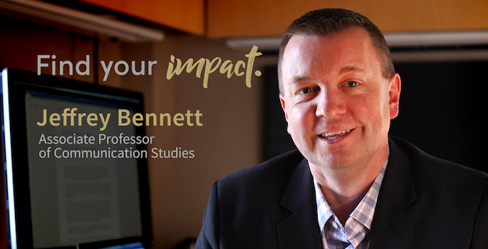"""Portrait of Jeff Bennett in office with """"Find Your Impact"""" logo and his name and title superimposed on left side of image"""