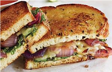 Kale and red onion grilled cheese sandwich.