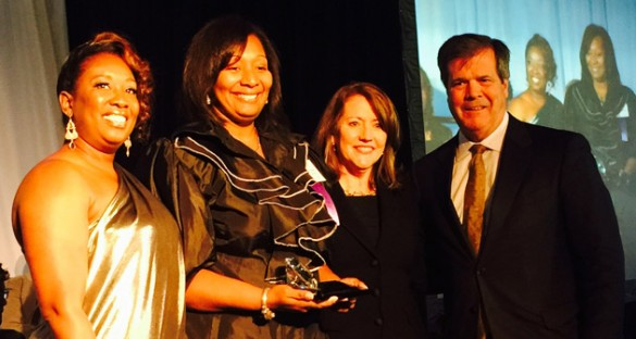 L-r: Lolita Toney, Athena Awards chair; Katherine Brown, Athena Young Professional Leadership Award recipient; First Lady of Tennessee Crissy Haslam; and Nashville Mayor Karl Dean.