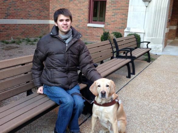Kelby Carlson and his service dog, Elvis. (Vanderbilt University)