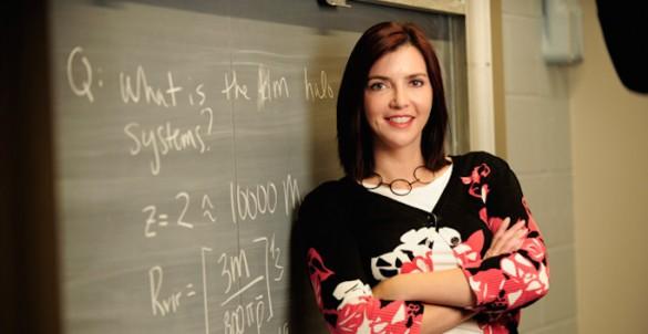 portrait at blackboard