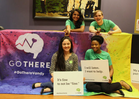 """Kelly Perry (front row, left) and classmates at at VUcept's """"Remember the Time"""" event, where students shared their stories of hardship and hope."""