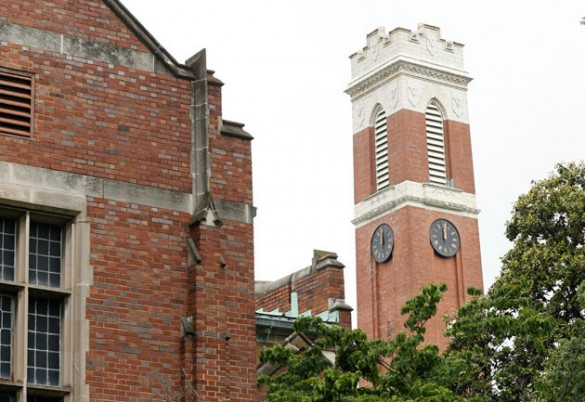 The clock on the Kirkland Hall tower is stopped at 12 o'clock. (John Russell/Vanderbilt)