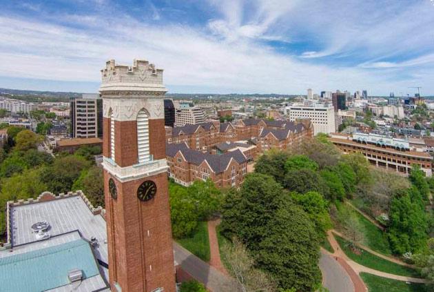 Aerial view of Kirkland Tower and campus (Vanderbilt University)