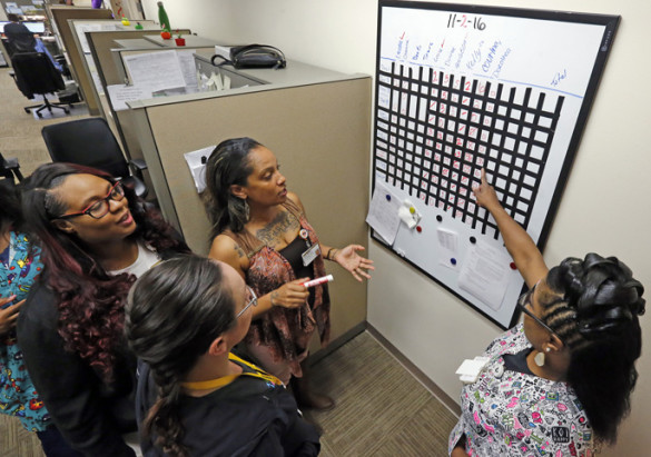 To better ensure patient appointments run smoothly, GI/Endoscopy scheduling team members now participate in a daily morning huddle to review patient calls that need to be made, as well as any changes in physicians' calendars that will impact scheduling. From left, Courtney Johnson, Kelly Henderson, Laura Munoz and Dorothea Love discuss the day's calls. (photo by Steve Green)