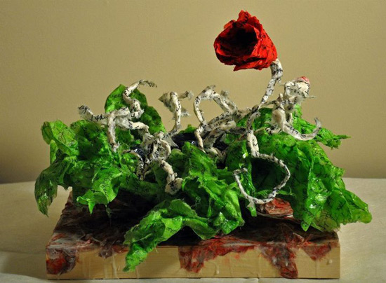 """A Bowl of Red Blooms,"" sculpture by Lori Anne Parker-Danley."