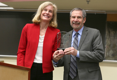 Douglas Lowy, M.D., acting director of the National Cancer Institute, here with Jennifer Pietenpol, Ph.D., recently spoke at Vanderbilt-Ingram Cancer Center. (photo by Anne Rayner)