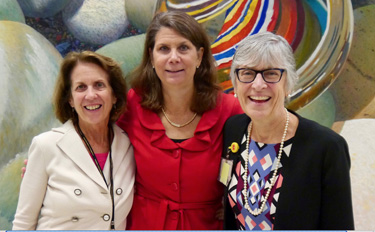 Among those celebrating the Master of Public Health Program's 20th anniversary at Reunion Weekend were, from left, Marie Griffin, M.D., Kathleen Neuzil, M.D., MPH, and Kathy Edwards, M.D., MPH. (photo by Anne Rayner)