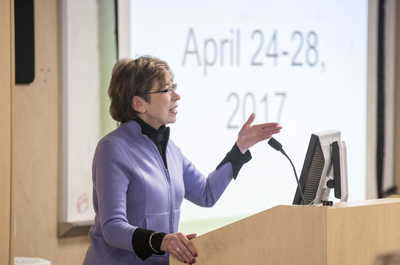 Marilyn Dubree, MSN, R.N., discusses the upcoming Magnet site visit during Tuesday's Medical Center Nursing Board meeting. (photo by John Russell)