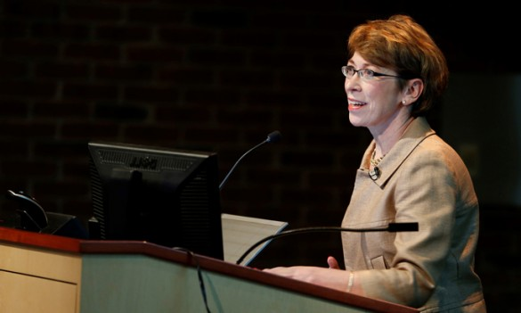 Marilyn Dubree, MSN, R.N., delivers Tuesday's State of Nursing address. (photo by John Russell)
