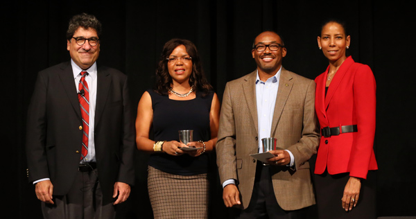 Chancellor Nicholas S. Zeppos; Ebony McGee, assistant professor of diversity and STEM education; William H. Robinson, associate professor of electrical engineering and associate dean in the School of Engineering; and Faculty Senate Chair Charlene Dewey.