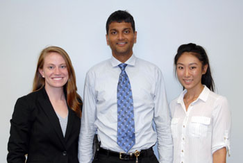The inaugural class of the Medical Innovators Development Program includes, from left, Ariel Kniss, Ph.D., Sai Rajagopalan, Ph.D., and Jessica Wen, Ph.D.