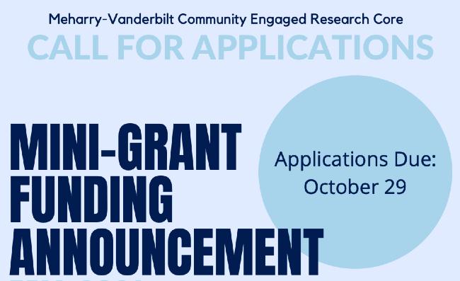 Meharry-Vanderbilt Community Engaged Research Core mini-grant funding announcement