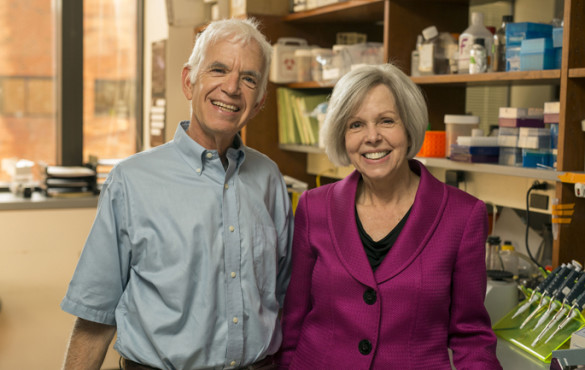 Ann Richmond, Ph.D., with Donald Rubin, M.D., who nominated her to receive the Biomedical Laboratory Research and Development Service of the U.S. Department of Veterans Affairs' William S. Middleton Award for scientific achievement. (photo by Daniel Dubois)