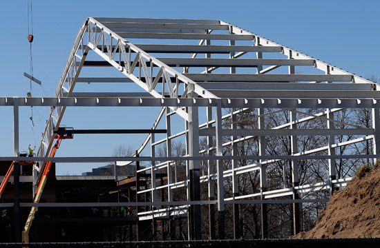 The north end of the new multipurpose facility is taking shape. (Joe Howell/Vanderbilt)