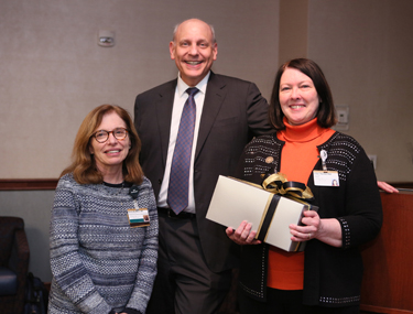 Lillian Nanney, Ph.D., right, with Bonnie Miller, M.D., and Neil Osheroff, Ph.D. (photo by Anne Rayner)
