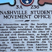 Historic marker at the location of Nashville Student Movement Office