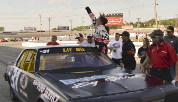 Vanderbilt's Stephanie Duke, LPN, celebrates after finishing a recent race at the Nashville Fairgrounds Speedway.
