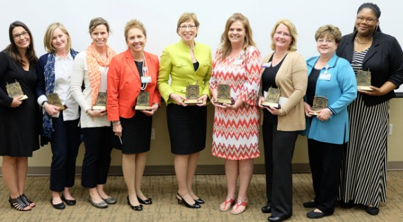 The 2016 VUSN faculty and staff award honorees are (l-r) Angel Anthamatten, Betsy Kennedy, Karen Hande, Susie Leming-Lee, Marilyn Dubree, Stacy Black, Sharon Holley, Sheila Ridner and Mia Wells. (Vanderbilt University)