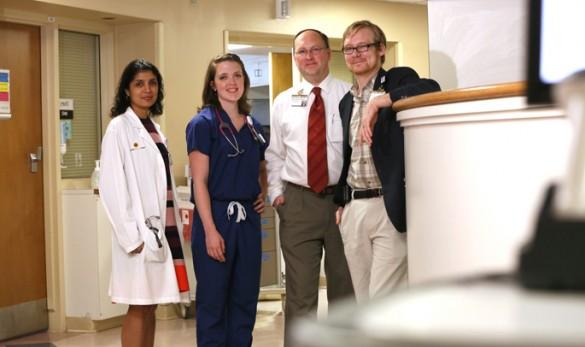 The palliative care team behind the Vigil Volunteer program includes, from left, Mohana Karlekar, M.D., Rebecca Hixson, R.N., Andy Peterson, M.Div., and Matt Frierdich, M.Div. (photo by Anne Rayner)