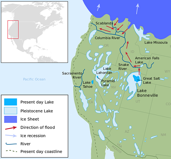 map of ice age lakes in us southwest