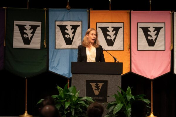 Photograph of Provost Cybele Raver at podium