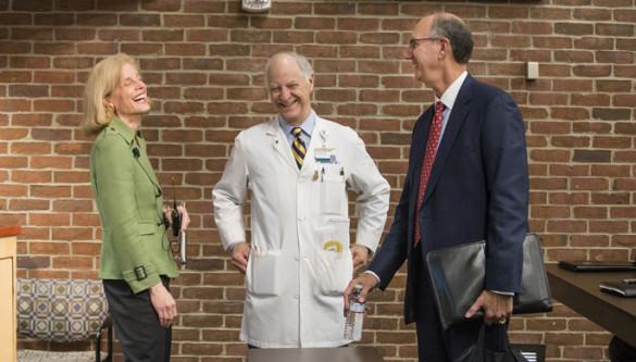 From left, Jennifer Pietenpol, Ph.D., Gordon Bernard, M.D., and Robert Dittus, M.D., MPH, at last week's VUMCResearch Enterprise Forum. (photo by Joe Howell)