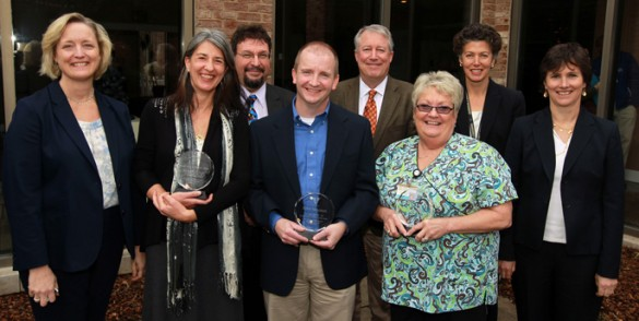 "At last week's Research Staff Awards were, front row from left, Susan Wente, Ph.D., and award winners Krassimira Garbett, Ph.D., Kent Shaddox and Patricia ""Cookie"" Minton, R.N. Back row from left are Karoly Mirnics, M.D., Dan Liebler, Ph.D., Tina Hartert, M.D., MPH, and Kathleen Gould, Ph.D. (photo by Steve Green)"