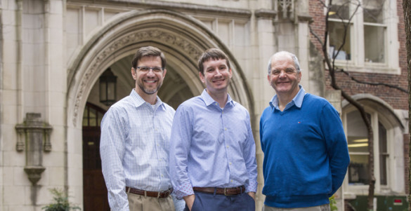 Bradley Richmond, M.D., Ph.D., center, first graduate of the new Physician Science Doctoral Program, with mentor Timothy Blackwell, M.D., left, and program director Roy Zent, M.D., Ph.D. (photo by Anne Rayner)