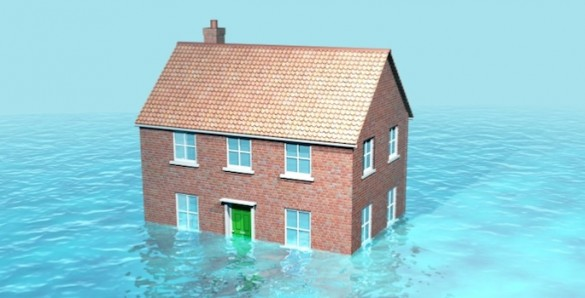Illustration of house half-submerged in water