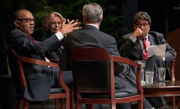 """""""Washington Post"""" columnist Eugene Robinson and """"Wall Street Journal"""" columnist Peggy Noonan kicked off the 2016-17 Chancellor's Lecture Series in a conversation hosted by Chancellor Nicholas S. Zeppos (far right) and Vanderbilt Distinguished Visiting Professor Jon Meacham (back to camera). (John Russell/Vanderbilt)"""
