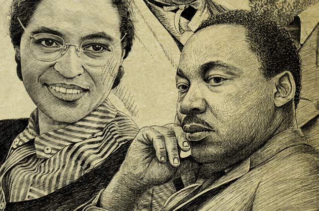 (L to r) Rose Parks and Martin Luther King Jr.