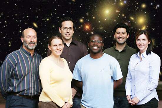 The members of Vanderbilt's SDSS team (l-r): David Weintraub, Leslie Hebb, Andreas Berlind, Trey Mack, Keivan Stassun and Kelly Holley-Bockelmann. (Daniel Dubois / Vanderbilt)