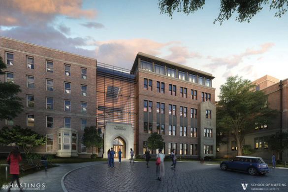 Architect's rendering of the new Vanderbilt University School of Nursing expansion as seen from 21st Avenue South. (Hastings Architecture Associates LLC/Vanderbilt University School of Nursing)