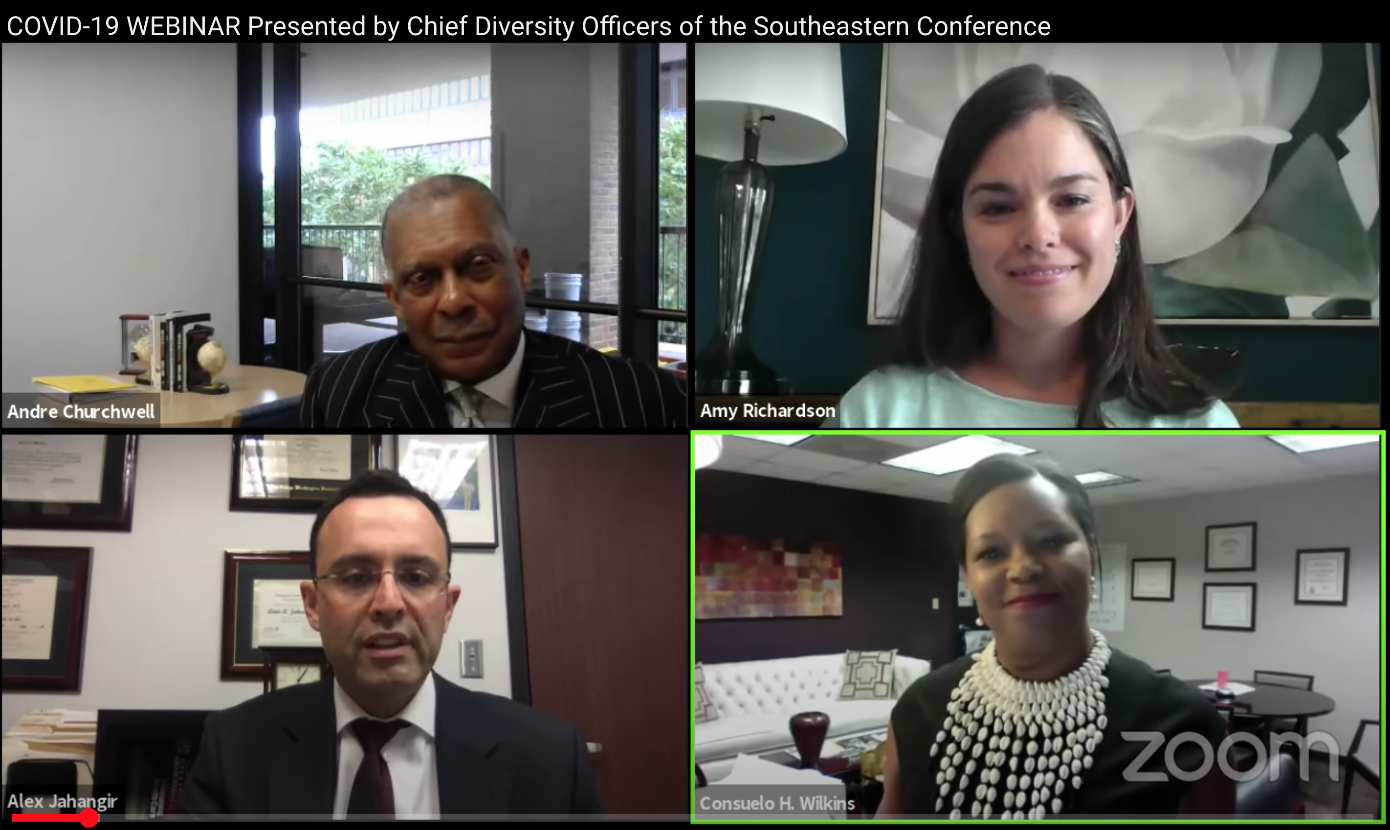 A screenshot of four speakers (Andre Churchwell, Amy Richardson, Alex Jahangir and Conseulo Wilkins)