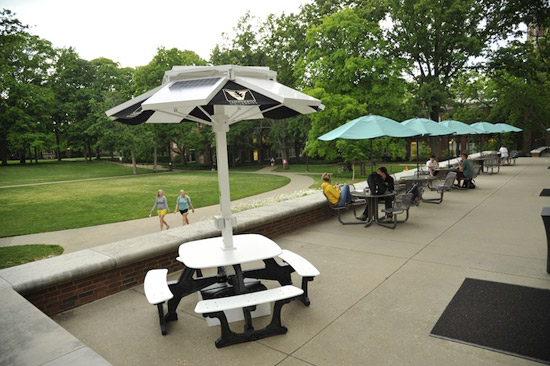 Solar Charging Stations For Personal Electronics Installed On Campus - Solar picnic table