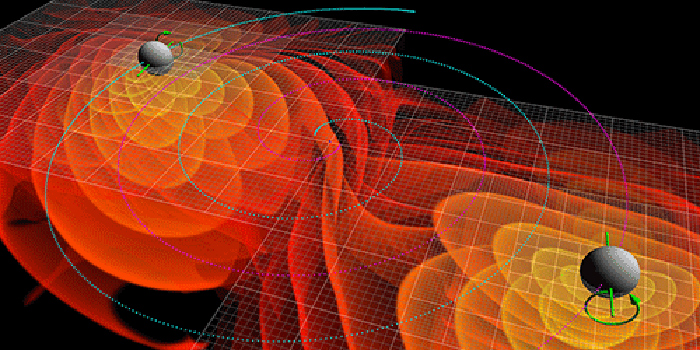 representation of sound waves from black holes colliding