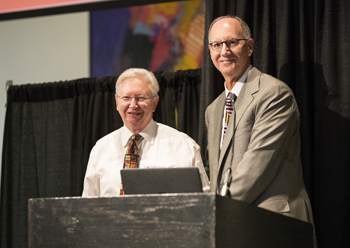 Frank Harrell, Ph.D., left, received the Distinguished Service Award from Robert Dittus, M.D., MPH. (photo by Joe Howell)