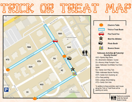 Trick Or Treat Map Trick or treat with the Greeks and student athletes Oct. 30  Trick Or Treat Map