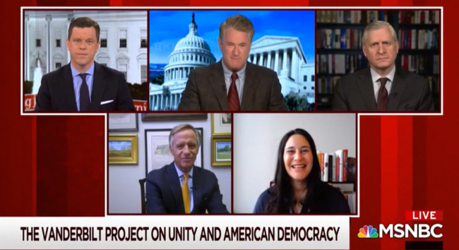 "Willie Geist and Joe Scarborough interview Jon Meacham, Bill Haslam and Samar Ali regarding The Vanderbilt Project on Unity and American Democracy on MSNBC's ""Morning Joe"" on Feb. 4, 2021."