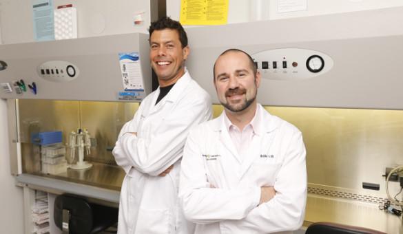 Vanderbilt-Ingram Cancer Center investigators Raymond Blind, Ph.D., left, and Justin Balko, Ph.D., Pharm.D., recently received grant awards from The V Foundation for Cancer Research. (photo by Steve Green)