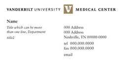 Sample Medical Center business card design.