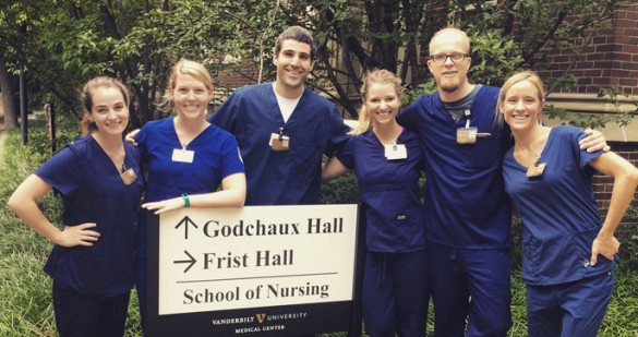 From left, VUSN PreSpecialty students Sarah Vaillancourt, Rebecca Daniels, Jerald Westendorf, Brooke DeLaney Collins, Todd Styles and Angie Larson suit up in their new scrubs for the first full week of classes. (photo by Sara Putnam)