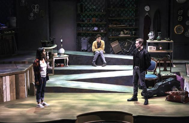 "L-r: Annie Bradford as Moll, Josh van der Eerden as Oliver and Michael Maerlender as the Mercenary in ""Kid Simple: A Radio Drama in the Flesh."" (courtesy of Phillip Franck)"