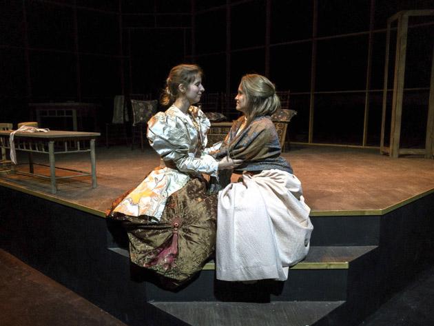 (L-r) Mrs. Warren, played by Jessica Meyer, and her daughter Vivie Warren, played by Mary Marguerite Hall. (Phillip Franck/Vanderbilt)
