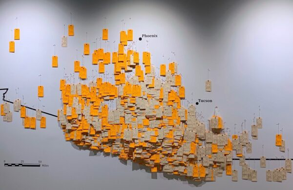 What the Hostile Terrain 94 art installation will look like when finished with toe tags pinned to a wall map.