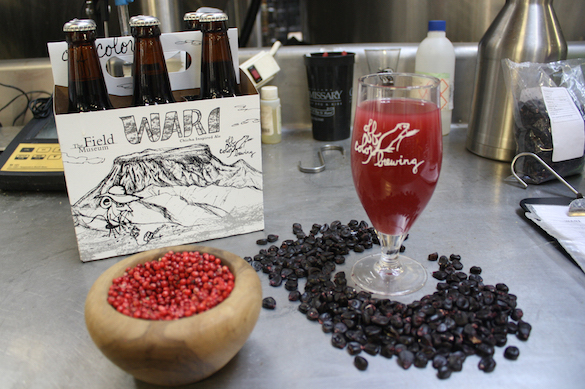 glass of pink beer surrounded by a six-pack, a bowl of molle berries, and a scatter of purple corn