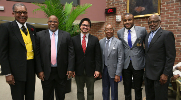 Kevin Johnson, M.D., M.S., second from left, delivered Tuesday's Levi Watkins Jr., M.D., Lecture. With him are, from left, André Churchwell, M.D., Adrian Cadar, Bedford Waters, M.D., Chike Abana and George Hill, Ph.D. (photo by Anne Rayner)